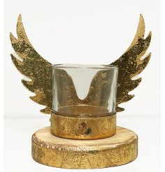A beautiful rustic themed T-light holder, complete with cut out angel wings.