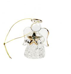 A charming glass angel decoration with a gold star and ribbon to hang.