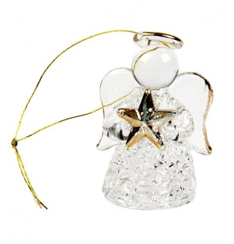 A beautiful glass angel decoration with a gold glass star and string hanger.