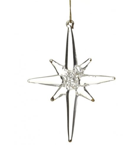 An eight point gold tipped 3-dimensional guiding star decoration with gold hanger.