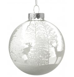 A stunning glass bauble with a winter festive scene with stags.