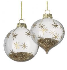 A mix of 2 glamorous gold baubles with glitter and stars.