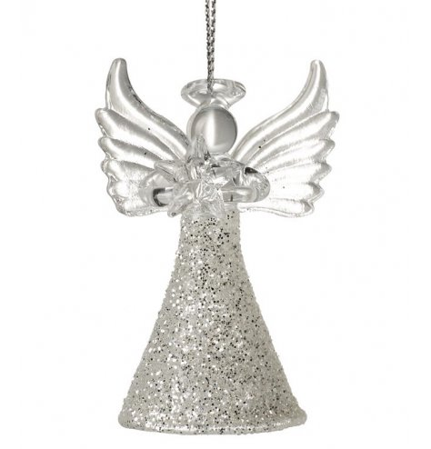 A beautiful hanging angel decoration with a long flowing glittery glass dress and extra sparkly details.