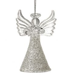 A fabulous glass angel ornament with a glitter skirt. A lovely decoration to adorn from your festive tree.
