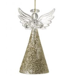 A stunning glass angel decoration with a gold glitter skirt.