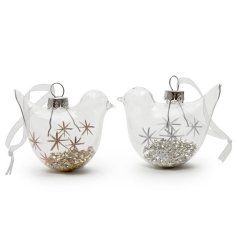 A mix of 2 glass bird decorations filled with gold or silver glitter, complete with star details.