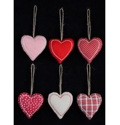 A mix of 6 fabric heart shaped decorations in colour block, star, polkadot, check and stripe designs.