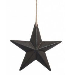 A 3D cast iron star decoration with a jute string hanger.
