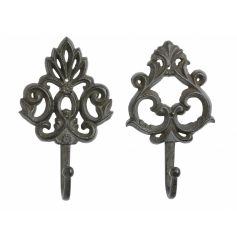A mix of 2 decorative cast iron hooks. Durable and stylish storage solutions for the home and garden.