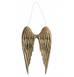 A pair of stunning angel wings with an antique gold finish. An on trend interior accessory.