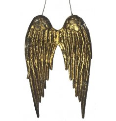 A pair of golden angel wings.