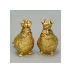 Add some glamour to the home with this assortment of bird ornaments with crowns. Each has an antique gold finish.