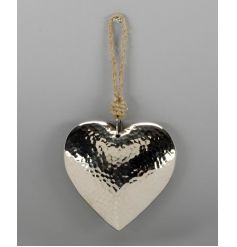 A classic silver heart decoration with a hammered finish. Complete with a chunky jute rope hanger.