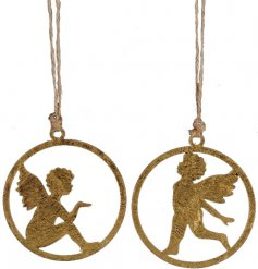 A must have! A mix of two charming antique style angel decorations with jute string hangers.