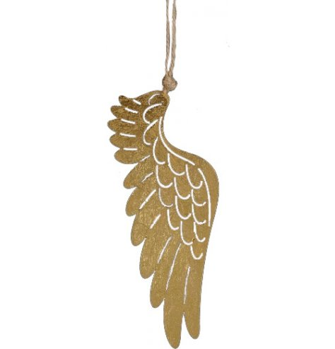 An antique inspired feathered angel wing hanging decoration with cut out feathers and a chunky rope hanger.