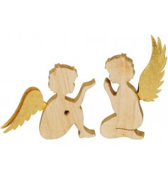 A mix of two charming wooden cherub ornaments, each with antique gold wings.