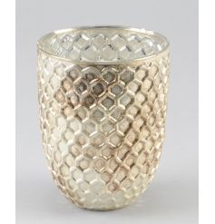 A stunning honeycomb style glass vase with a rich gold finish. A must have for the style savvy buyer.