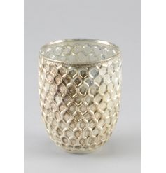 A stunning honeycomb style glass vase with a rich gold finish.