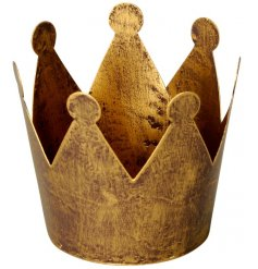 A rustic style gold crown t-light holder. An on trend interior design item for the home.