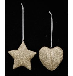 A mix of 2 gold glitter hanging decorations with plenty of seasonal sparkle.
