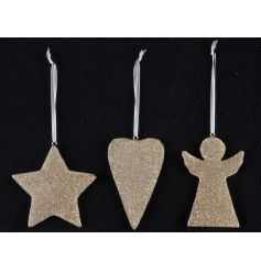 A mix of 3 gold glitter hanging ornaments in star, heart and angel designs. Complete with fabric hanger.