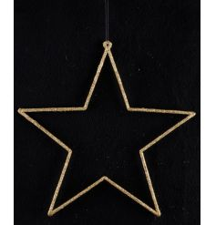 A classic gold glitter star decoration with hanger. A beautiful home accessory.