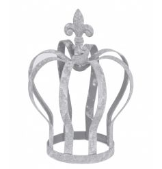 A decorative grey metal crown. Perfect for placing over candles or plants. A chic home accessory.