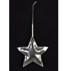 A shiny silver fabric star hanger. A unique festive item which is ideal for shop and window displays