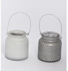 An assortment of 2 chic metallic lanterns in white and grey colours with a slimline metal handle.