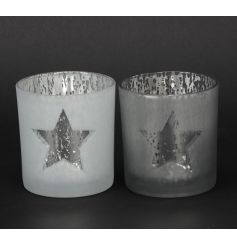 An assortment of two silver and white glass t-light holders with a star design.