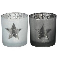 Shine this season with this mix of 2 superb value glass t-light holders with a star design.