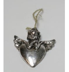 A chic silver hanging heart ornament with an adorable cherub. Complete with jute string hanger.