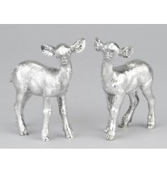 An assortment of 2 utterly charming silver fawn ornaments with a shiny finish.
