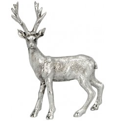 A stylish silver stag ornament with an antique finish.