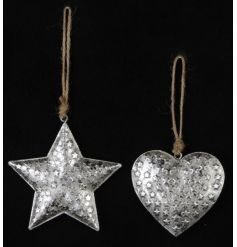 An assortment of 2 3D silver star and heart hangers, each decorated with miniature stars.