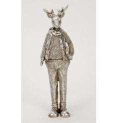 A unique antique inspired silver stag ornament with winter clothes and scarf. A fabulous decoration for the style savvy.