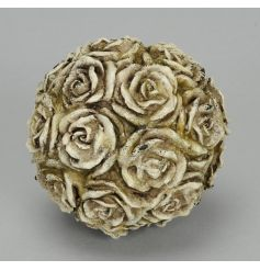 A decorative sphere made from roses. A charming antique inspired decoration for the home or garden.