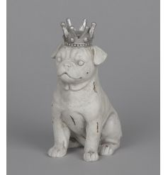 A stylish dog ornament with a distressed finish and a silver crown. A must have ornament for the style savvy.