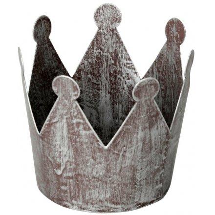 Distressed Grey Crown T Light Holder 7.5cm