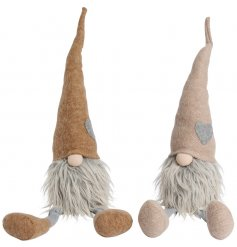 A mix of 2 natural sitting Gonk decorations with shaggy beards and heart design hats.