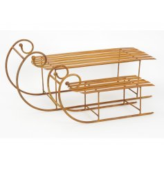 A set of two large rustic metal sleighs, ideal for creating those woodland inspired festive displays.