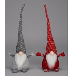 A mix of two red and grey Gonk decorations with quirky tall hats and cute button noses.