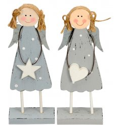 Two sweet standing wooden angels, stood on grey blocks.