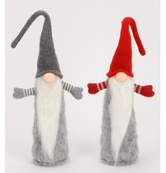 2 funky standing gonk ornaments in a grey and red colour