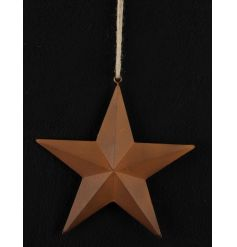 A simplistic styled hanging metal star finished with  copper coloured coating
