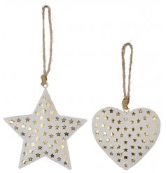These stylish white metal stars and heart hangers are a perfect decorative accessory that can fit in perfectly with ever