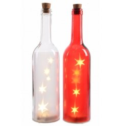 An assortment of 2 red/white LED glass bottles