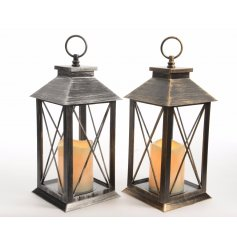 An assortment of 2 antique bronze / silver lanterns with LED candle