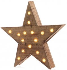 A beautifully rustic Natural Wooden Star decoration filled with warm glowing LED lights