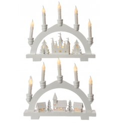This beautifully simple arched candelabra decoration will look perfect in any home this festive season